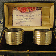 Sterling Martin Hall ~ 1921 Napkin Rings in Presentation Box ~ English Silver