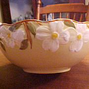 Vintage Hand Painted Stangl White Dogwood Pottery Large Serving Bowl