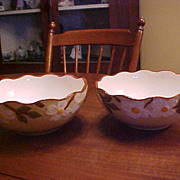 Vintage Hand Painted Stangl White Dogwood Pottery Small Serving Bowls