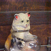 Cute Rare Old Chalk/Plaster Cat with Fish Bowl