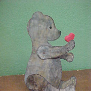 Cute Vintage Jointed Tin Bear with Wooden Heart