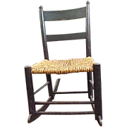 Adorable Child�s Rocker with Woven Rope Seat