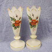 SALE Pair of Vintage Hand Painted Bristol Glass Vases with Crown Tops