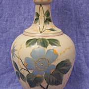 "SALE Beautiful Victorian Opaline Glass Vase Hand Painted  Floral - 12""  Tall"