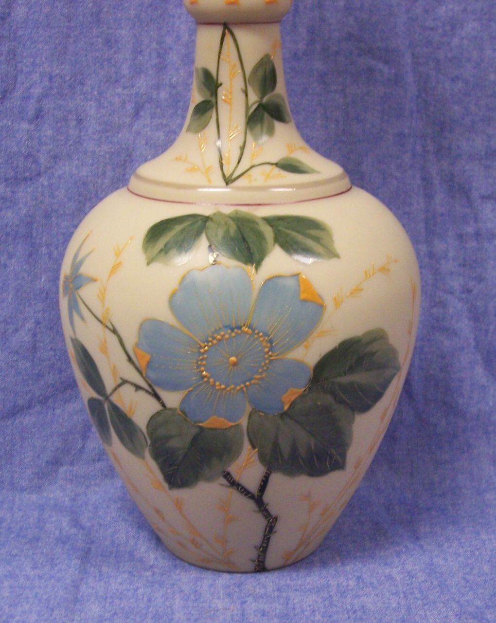 "Beautiful Victorian Opaline Glass Vase Hand Painted  Floral - 12""  Tall"
