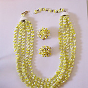 SALE Gorgeous Hobe 5 Strand Necklace and Earrings Set  Yellow & White Glass Beads