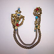 SALE Coro Door Knocker & Key Chatelaine Double Brooch