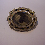 SALE Antique 12K Gold Hair Memorial Brooch Pin with Pearls - 1861