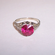 10K White Gold Filigree Ring Deco Edwardian Synthetic Ruby