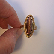 SALE Vintage 14K Yellow Gold Goldstone Ring