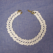 Napier White Enamel Link Necklace