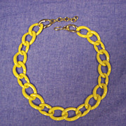Vintage Yellow  Enamel Link Necklace