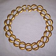 Vintage Gold tone Link Necklace Satin Finish