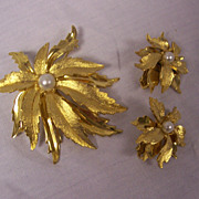 Emmons Brooch & Earrings Leaf & Faux Pearl or Poinsettias
