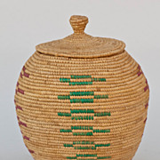 SOLD Vintage Hooper Bay Alaska Eskimo Lidded Basket Indian