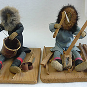 SOLD 2 Vintage Eskimo Activity Dolls Martina Oscar Signed Alaska