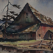 SALE Vintage Signed Northwest Watercolor Wesley Broten Barn Painting