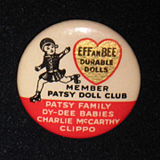 SALE Original 1930's Effanbee Patsy Doll Club Pin Button