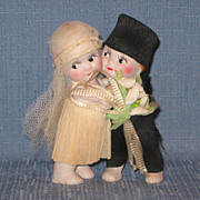 SALE Kewpie Huggers Bride and Groom in Crepe Paper Outfits 1920's