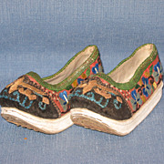 SALE Antique 19th Century Chinese Embroidered Bound Feet Lotus Shoes Rare and Wonderful