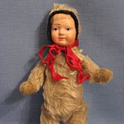 Teddy Bear Doll with Celluloid Child's Face