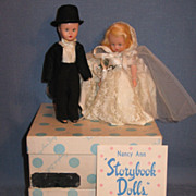 SALE Nancy Ann Storybook Dolls Sleep Eyed Bride and Groom in Original Boxes