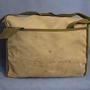 Vintage Leitz Camera Bag with Authentic Andy Warhol Signature Rare and Unusual