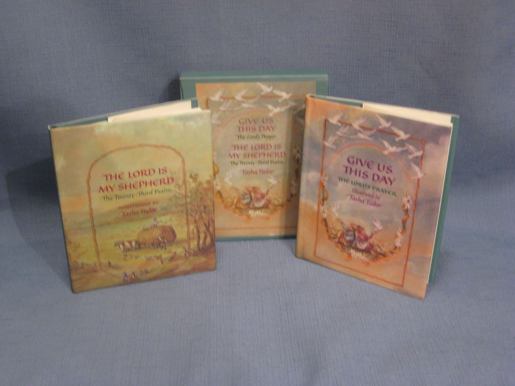 Tasha Tudor 1st Miniature Edition 2 Book Set The Lord Is My Shepherd and Give Us This Day