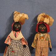 SALE Pair of Black Folk Art Dolls All Original
