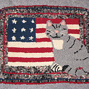 Small  American Folk Art  Wool Hooked Rug