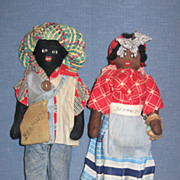 Vintage 1940's Pair of Black Dolls from Little French Shop Hamilton Bermuda