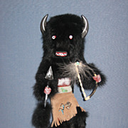 Hopi Kachina Doll Large Buffalo with Hood Signed