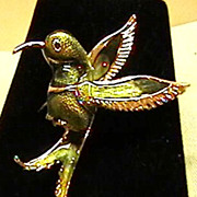 Enamelled Hummingbird Brooch