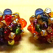 Vintage Beaded Cluster Earrings
