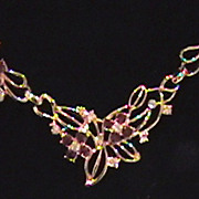 Gorgeous Vintage Necklace with Amethyst Focal Points.