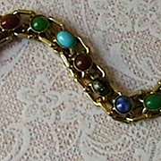 Goldtone Bracelet with Gemstones