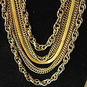 Multi Strand Goldtone Necklace