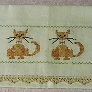 Vintage Runner with Cats Embroidery