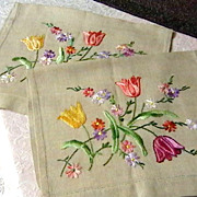 Pair of Vintage Embroidered Chair Backs