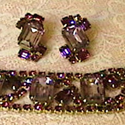 Elegant Amethyst Color Bracelet and Earrings