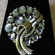 Crown Trifari Faux Moonstone Brooch/Pin