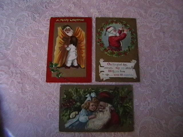 Antique Embossed Postcards with Santa Claus