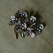 WEISS  enamel and rhinestone brooch