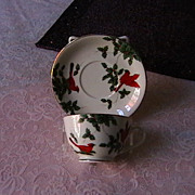 Cup and Saucer with Holiday Decoration, marked LEFTON