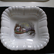 Vintage Ironstone Bowl with Handpainted Center Winter Scene