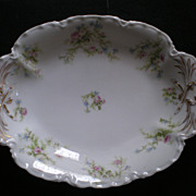 Haviland Oval Serving Bowl with Pink Floral Decoration