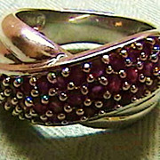 Rubies and Sterling Crossover Style Ring