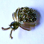 Whimsical  Rhinestone Beetle Brooch