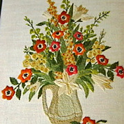 Crewel on Linen Needlework Picture