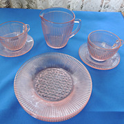 Depression Jeannette Pink Child's Homespun Partial Tea Set